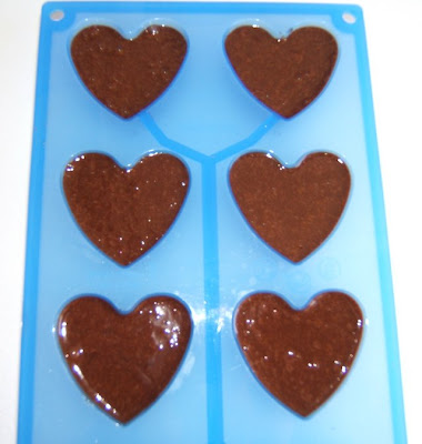 Corazones mousseux de chocolate