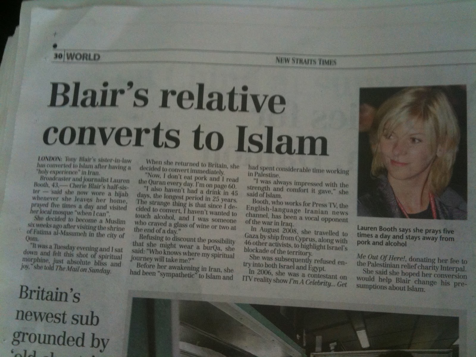 blairs muslim There's another convert in the blair family, according to news reports: it could certainly make family get-togethers interesting tony blair's sister-in-law lauren booth has converted to islam the former prime minister is also.