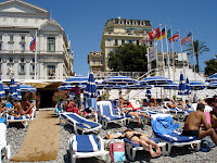 Opera Plage - Nice Opera House is the building on the left at the back of the beach across the Promenade des Anglais