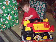 Dominick with his new dump truck!