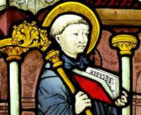 Stained glass showing Bernard of Clairvaux