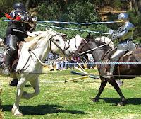 Mediaeval knights jousting