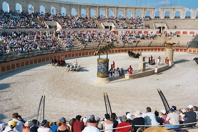 A modern recreation of chariot racing in Puy du fou