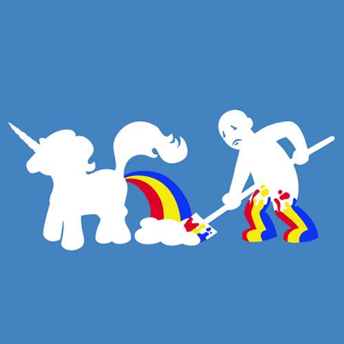 IMAGE(http://2.bp.blogspot.com/_mRSOlEjRRSE/SxMAkZjTcdI/AAAAAAAAApQ/x8IUmM5JXGQ/s1600/topatoco-unicorn-poop-shirt1.jpg)