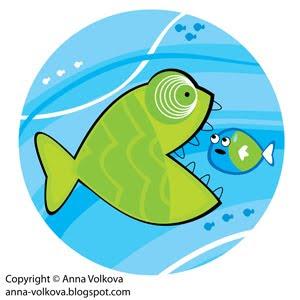 Большая рыба, символизирующая Shutterstock съедает маленькую, символизирующую Bigstockphoto