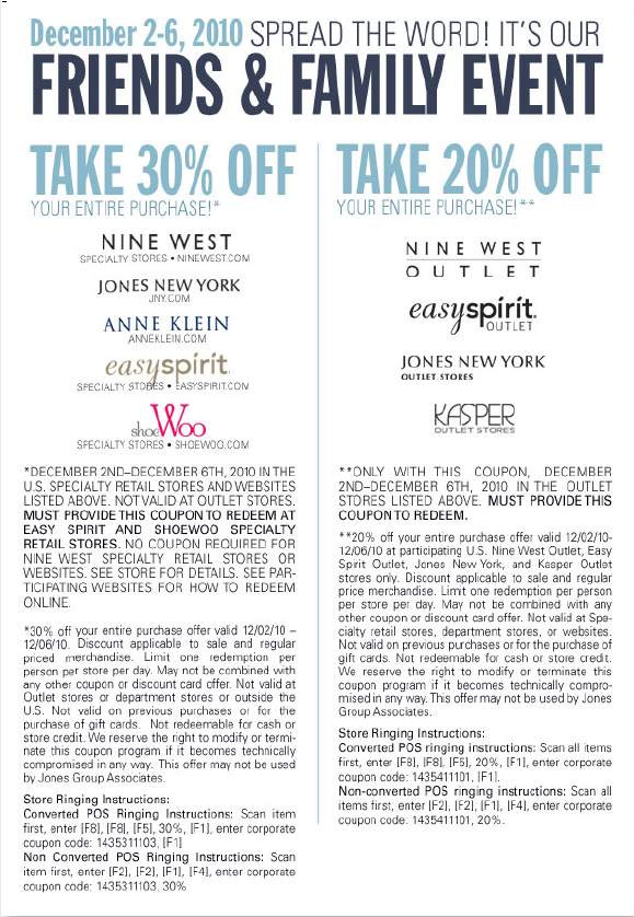 Nine west coupon codes