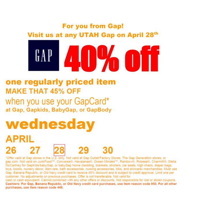 Gap coupons 2018 outlet : Couriers please coupon calculator