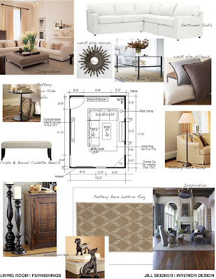 Highland Park Residence Living Room Furnishings Concept Board