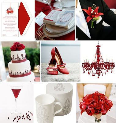 Beautiful place setting featuring red table runners white napkins