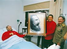 Fidel enfermo y los dos buitres rojos haciéndole compañía
