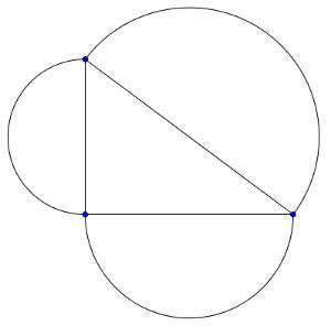 Triángulo y semicircunferencias