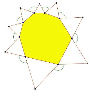 Un octógono con triángulos
