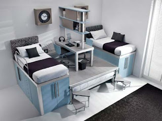 Design-boarding dorm room or teenager's room with double bed