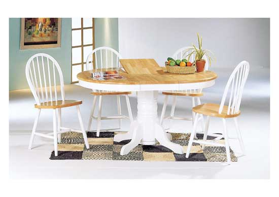 Modern Furniture-Dining Room Furniture Sets - Oval Extension Table Sets - 5 Pc. White Natural Butterfly Extension Table Set