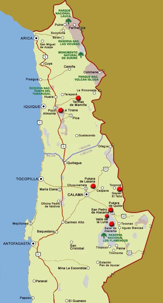 Decoracion Zona Norte De Chile ~ Chile y Sus Ciudades MAPA ZONA NORTE DE CHILE