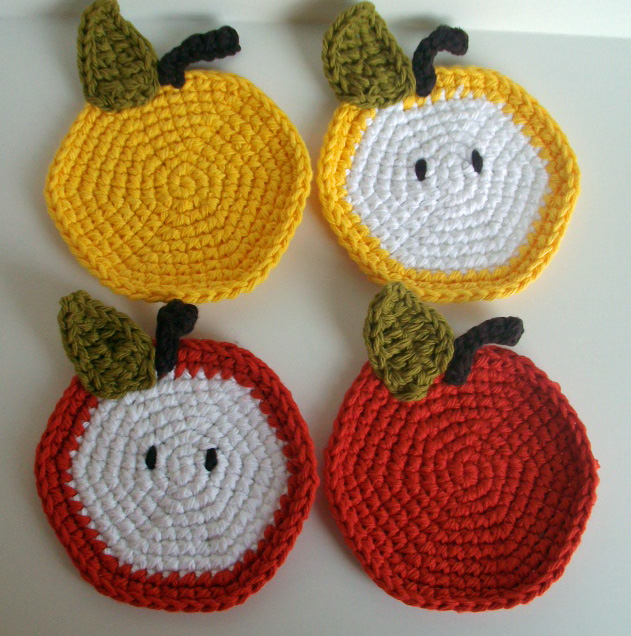 APPLE COASTER Crochet Pattern - Free Crochet Pattern Courtesy of