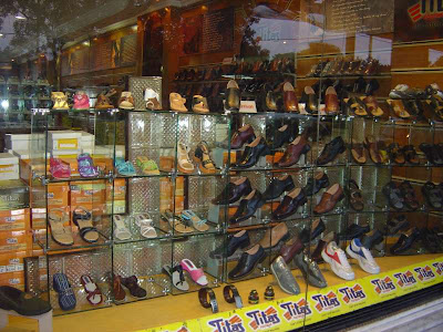 Showcase of shoes