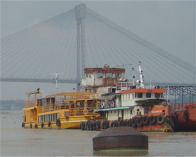 Barges on the river Hooghly, Kolkata