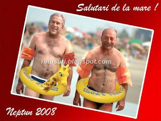 Bush si Basescu la Neptun - Felicitare