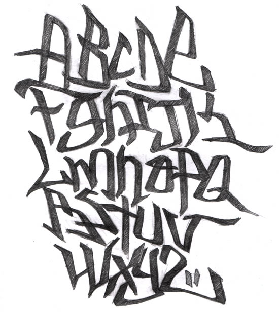 Drawing Graffiti Letter Alphabet A-Z for