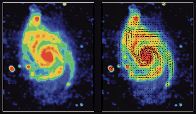 Faraday rotation, magnetic fields, m51
