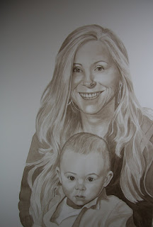 jMother and Child Watercolor Portrait Commission