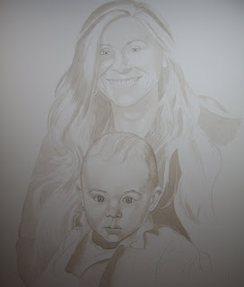 Mother and Child Portrait in Watercolor