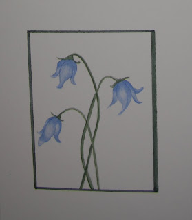 Miniture Watercolor Flower Painting - Blue Bells