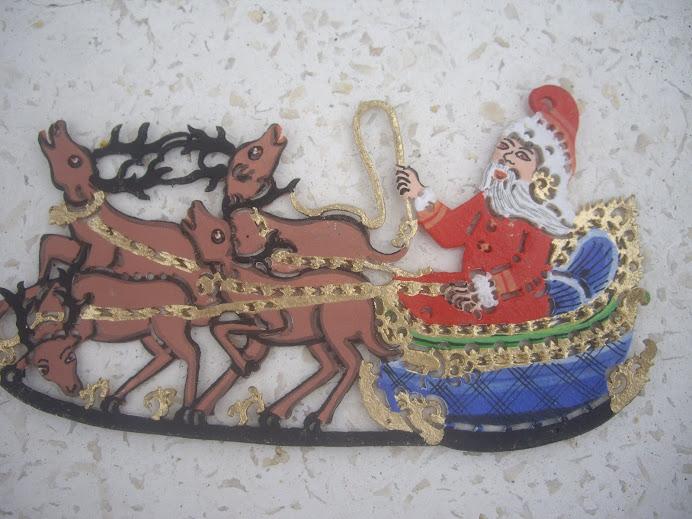 SANTA ON A SLEIGH WITH REINDEER--HANDMADE IN BALI, HANGING CHRISTMAS ORNAMENT, WAYANG KULIT-STYLE