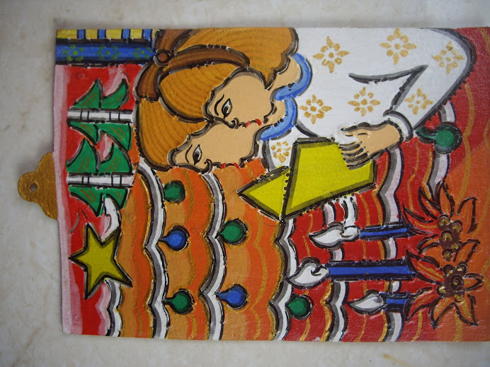 CHILDREN SINGING HYMNS ORNAMENT--ANGELIC CHILDREN.  HANDCRAFTED IN BALI, WAYANG-KULIT STYLE LEATHER