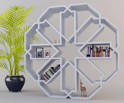Contemporary Bookcase Shaped Like a Snowflake