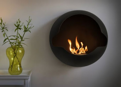 Spherical Wall-Mounted Fireplace Design - Cupola