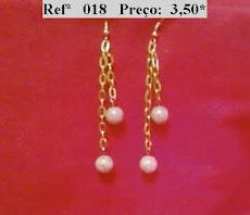 Refª 018 NOVO PREÇO: 2,50* Brinco com corrente prateada e bolas brancas