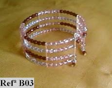 Refª B03 NOVO PREÇO: 5,00* pulseira com facetes checos tons rosa e bordeaux