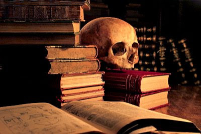 Old books with skull