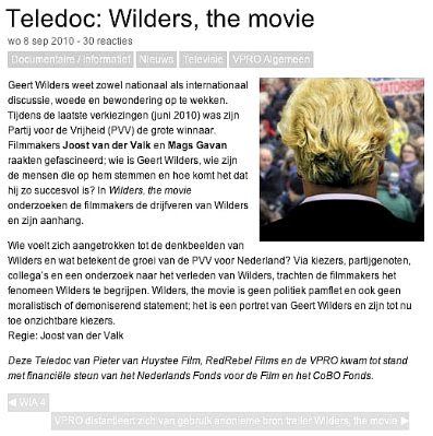 Wilders movie — VPRO screen shot