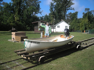 Dinghy railway to lift the boat up to the level of Lake Drummond, Great Dismal Swamp