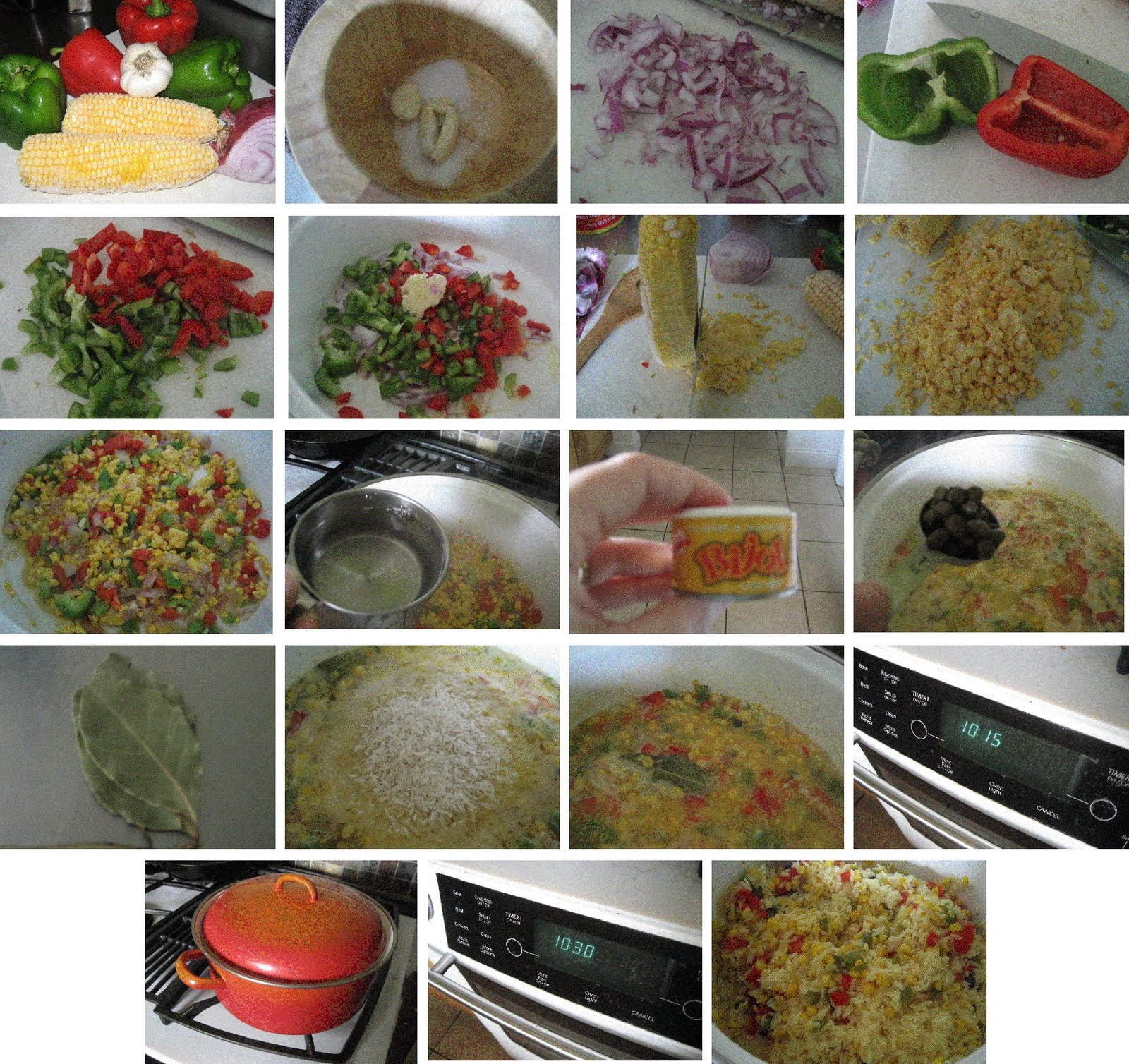 Pour Olive Oil Into A Large Enough Pot To Cook Your Rice, Sautee Your  Onions, Peppers, And Garlic Add Your Water, Salt, Bijol, Bay Leaf And  Capers