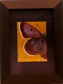 blues on the brink painting of bog copper butterfly