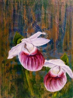 Showy ladies slipper orchid painting