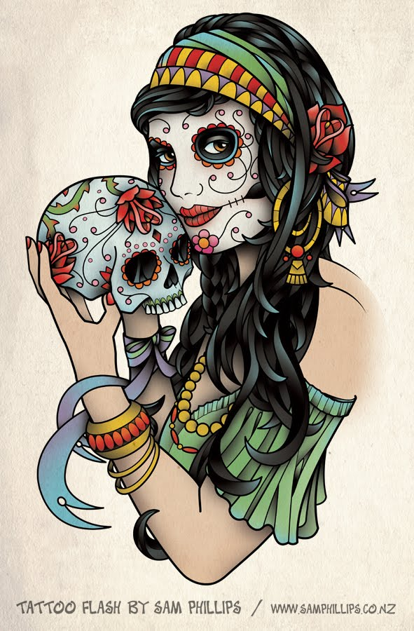 I designed this tattoo of a gypsy holding a sugar skull for Pip Elrington.