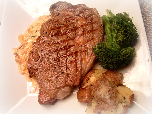 ... Grilled Ribeye Steak with Onion Blue Cheese Sauce by A Feast for the