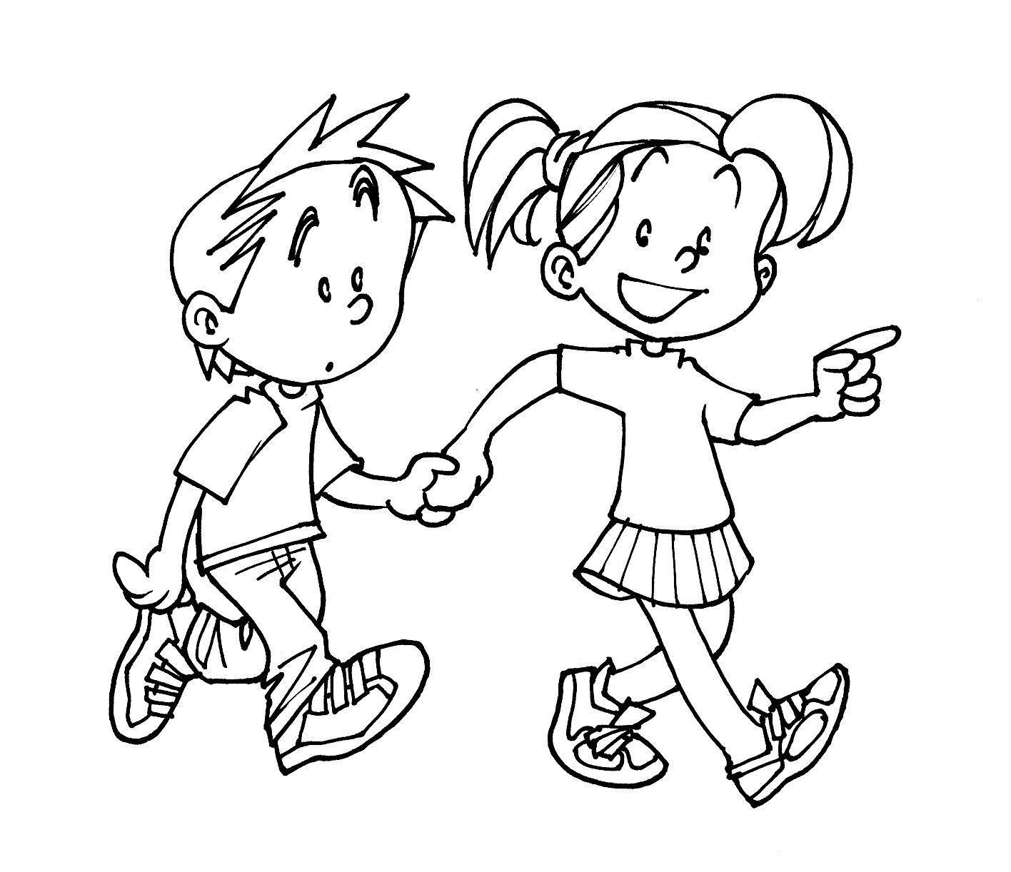 Imagenes de niño caminando para colorear - Imagui