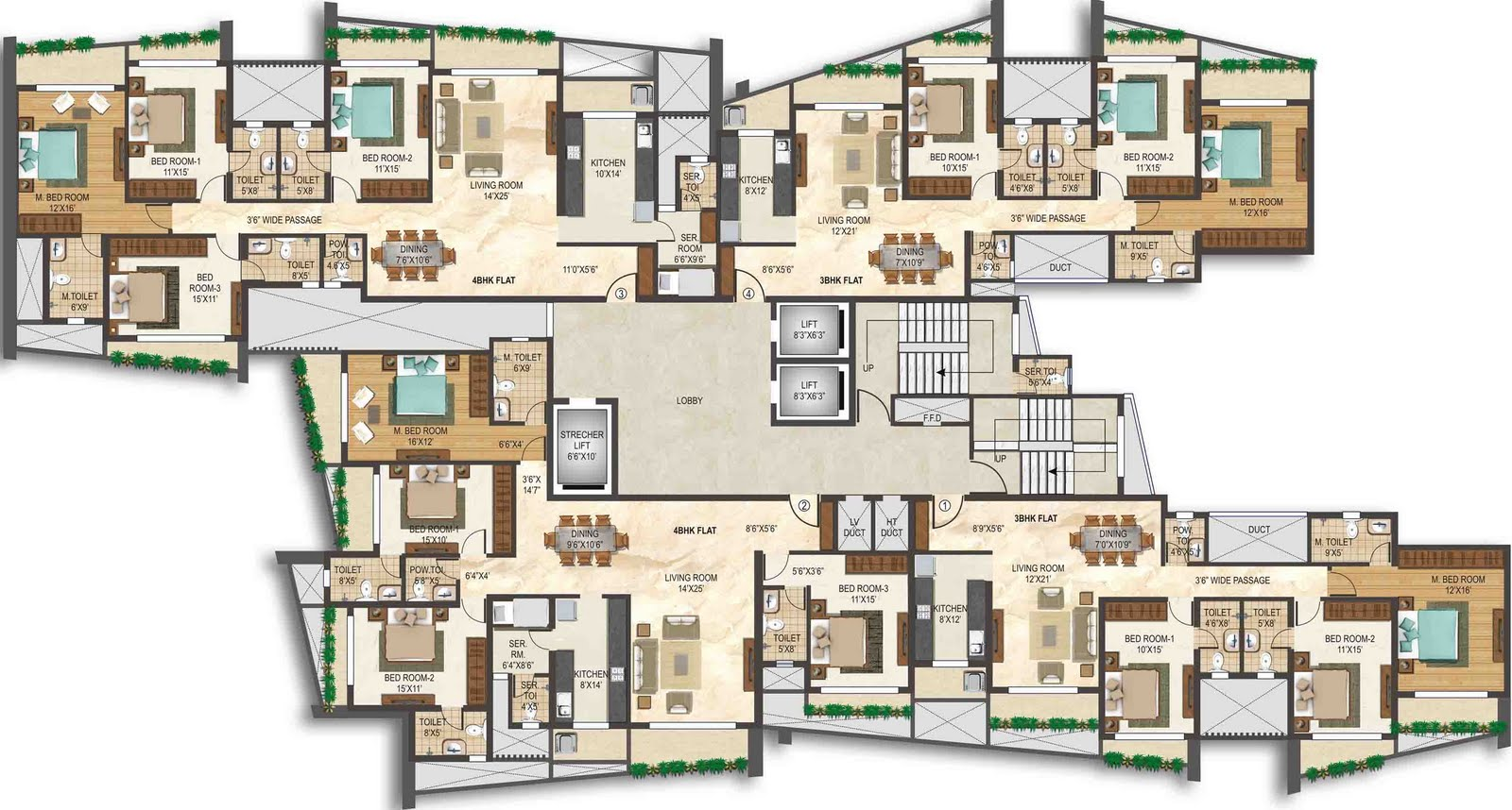 Free booking 3 4 bhk apartment oriana gandhi nagar for Backyard apartment floor plans