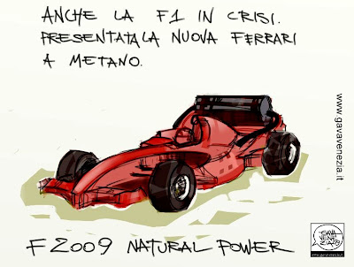 Formula 1 crisi nuova ferrari metano natural power Gava satira vignette