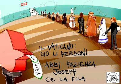 Gava satira vignette coda in vaticano elimina perdono Ratzinger Papa