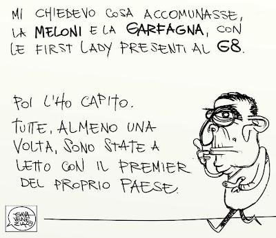 Gava satira vignette Meloni Garfagna donne