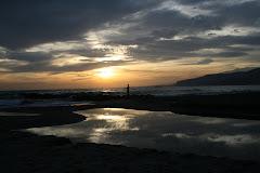 Playa de el zapillo despues de un dia de lluvia (almeria)