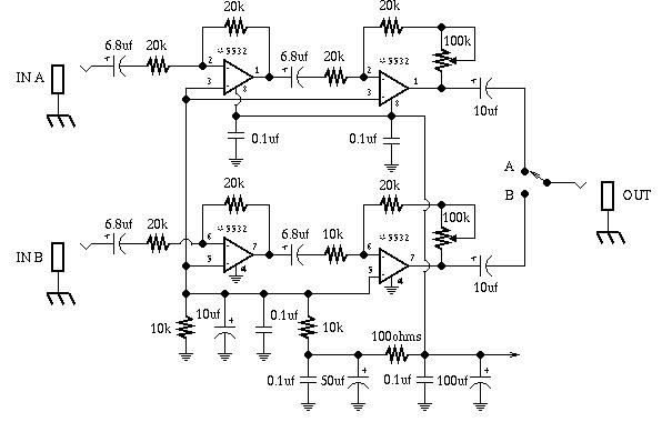 GuitarTech: Dual Pre-Amp and A/B Box Guitar Effect Schematic