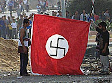 Palestinian raise swastika, symbol of the sun god